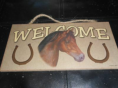 """Hanging Plaque Sign Brown Horse Welcome 5""""x10"""""""