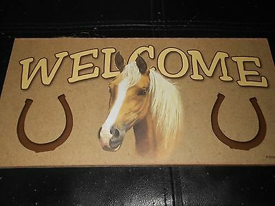"""Hanging Plaque Sign Palomino Horse Welcome 5""""x10"""""""