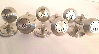 New Set of 6 Single Cylinder Stainless Steel Deadbolts Keyed Alike KW1