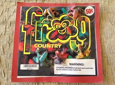 """Vintage Vending Display """"Frog Country"""" Small Rubber Frog Toys"""