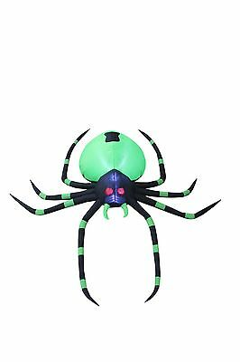 6 Foot Long Halloween LED Lighted Inflatable Green Spider Garden Yard Decoration