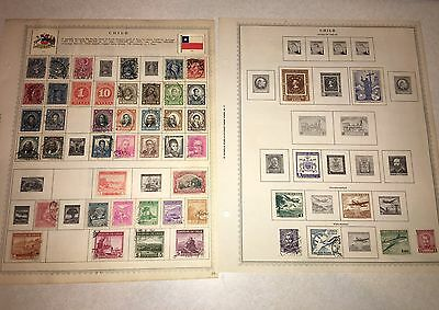 Lot Of 79! CHILE South America Stamps On Minkus Pages Hinged 1880's-1955 Old