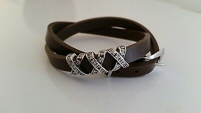 Sterling Silver & Brown Silicone Wrap Bracelet with Sterling Belt Buckle Clasp
