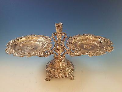 Antique Austro Hungarian Silver Centerpiece Trays with Vase in Center