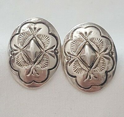 Vintage Old Pawn STERLING SILVER Navajo Signed BJ Bobby Johnson Concho EARRINGS
