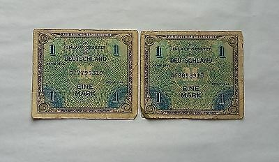 Germany 1944 Umlauf Gesetzt 1 Eine Mark WWII Allied Occupation. Lot of 2.