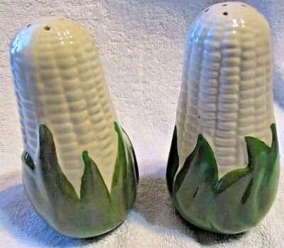 Vintage Shawnee Pottery White Corn Queen Large Salt & Pepper Shakers 5 1/4""