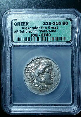 ALEXANDER THE GREAT!  325-315 BC! SILVER Tetradrachm ICG EF40 ANCIENT GREECE .