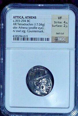 Ancient Greece Attica ,athens  Ar Tetradrachm , Athena & Owl Ngc Vf ,393-294 Bc.