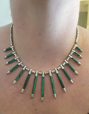 Vintage Taxco Modernist Sterling Silver Malachite Graduating Nail Point Necklace