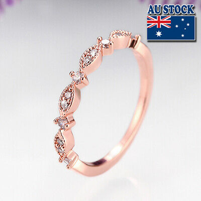 New Arrival Fashion18 K Rose Gold Filled  Cubic Zircon Engagement Ring Size 5-7