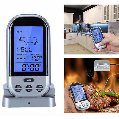 Wireless Digital Cooking Thermometer w/ Timer/Alarm BBQ Oven Smart Meat Probe