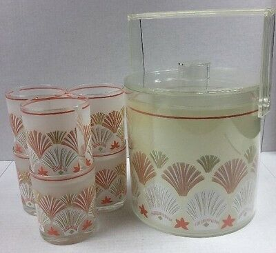 Vintage Lucite ICE CHAMPAGNE BUCKET Lid and 6 Matching Tumblers SEA SHELL Design