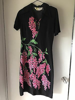 Retro Vintage Dress Collared Funky Women's Black & Pink & Green Floral Patterned