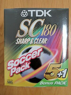 6 x TDK SC180 Blank Video VHS Tapes (Brand New And Sealed)