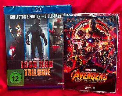 Iron Man Trilogy 3 Movie Collection - Blu-Ray Import - Region Free + Art Cards