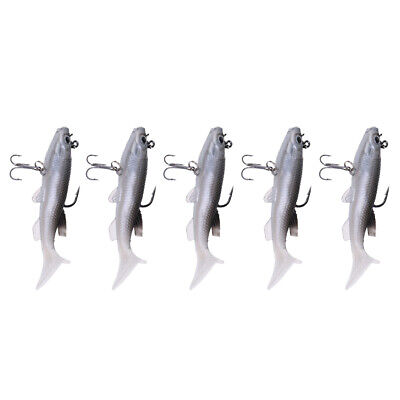 5Pcs Soft Fishing Lures Crankbaits Fishhooks 3D Vivid Minnow Baits Tackle