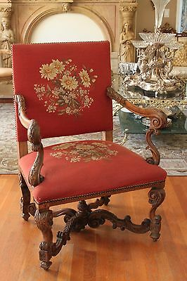 Antique French Louise XV Needlepoint Carved Wood Master Chair Tapestry Floral