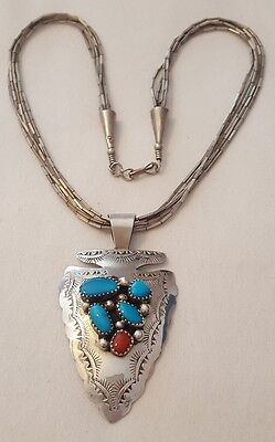 Navajo Turquoise Coral Sterling Silver Arrowhead Pendant and Necklace Stan Slim