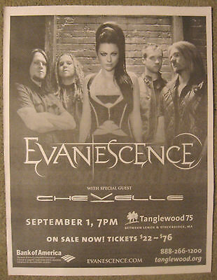 "Evanescence-""2012 Tour News Advert"" Chevelle-Amy Lee-Ben Moody-Rock Music."