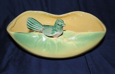 Vintage McCoy Green Bird on Yellow Bowl