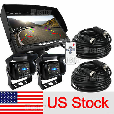 "For RV Truck Bus Van 2x Rear View Back up Camera Night Vision System+7"" Monitor"