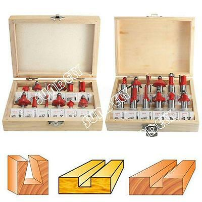 12PC Shank Tungsten Carbide Router Bit Wood Working Cutter Trimming Knife New