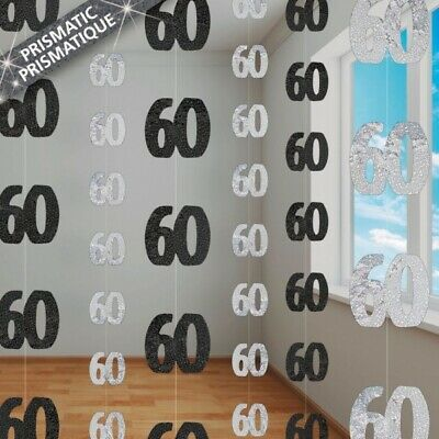 60th Birthday Black/Silver Hanging Decoration Strands Pack 6 Free Post