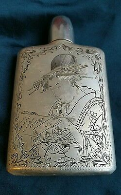 Antique ww2 sterling silver flask geisha girl