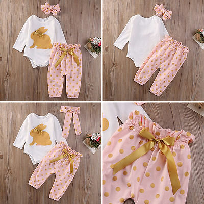 3PCS Kids Baby Girls Outfit Romper Jumpsuit+Pants+Headband Clothes Set Casual