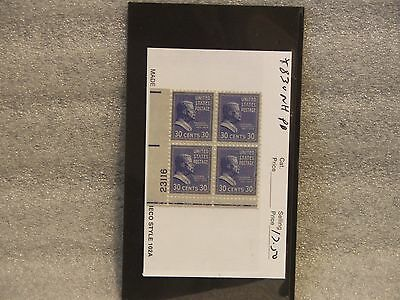 #830 - Ll Plate Block Of 4 - 30 Cent 1938 Presidential Issue Stamps - Mnh