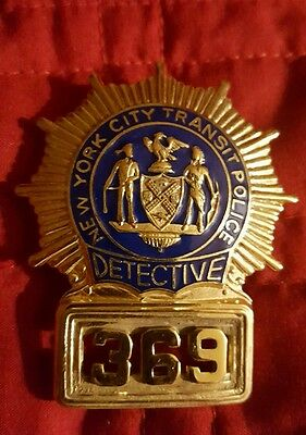 Obsolete Vintage NYC Transit Authority Police Detective Badge, Defunct Dept