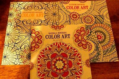 3 Adult Coloring Books COLOR ART for everyone Printed On Premium Paper in USA