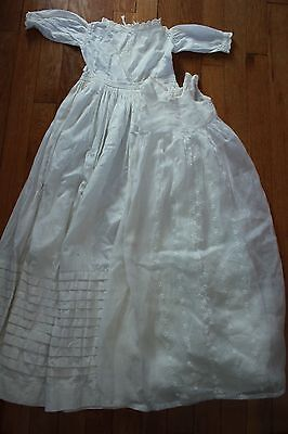 Antique Child or Baby Doll Christening Gown with Slip Lace Trim Very Long