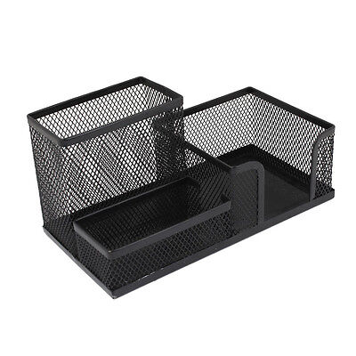 Students Office Desk Mesh Style 3 Compartments Metal Pen Holder Black S6N9