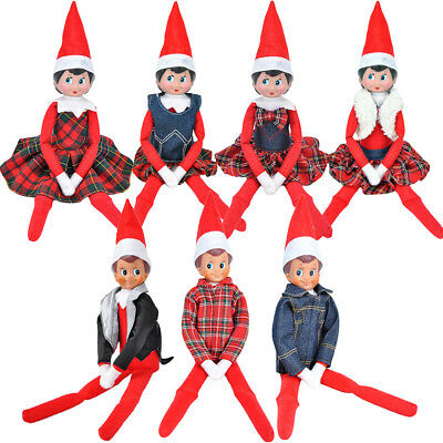 1 Set Claus Couture Red Plaid Skirt Dress T-shirt Clothing For Elf on the Shelf
