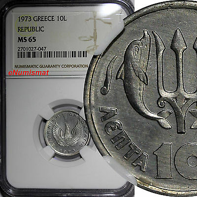 Greece Aluminum 1973 10 Lepta GRADED NGC MS65 1 YEAR TYPE KM# 102