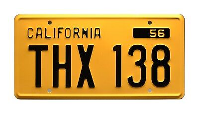 American Graffiti / Screen Accurate / THX 138 *METAL STAMPED* Prop License Plate