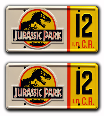 Jurassic Park | Jeep Wrangler | #12 | STAMPED Replica Prop License Plate Combo