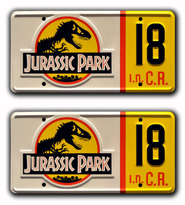 Jurassic Park | Jeep Wrangler | #18 | STAMPED Replica Prop License Plate Combo
