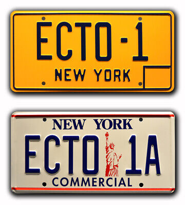 Ghostbusters 1 & 2 | ECTO-1 + ECTO-1A | STAMPED Replica Prop License Plate Combo