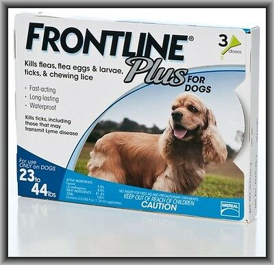 Frontline Plus Flea & Tick Control for Medium Dogs 23-44 lbs, 3 Doses Box !