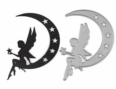 Unbranded quality metal cutting die FAIRY ON MOON ww Cuttlebug / Sizzix