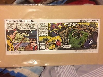 The Incredible Hulk Lithograph Print Signed Num By Stan Lee And Larry Lieber!