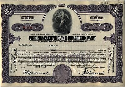 Virginia Electric & Power Company Stock Certificate Older Purple