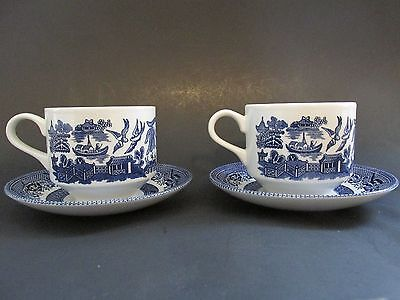 Churchill Blue Willow Coffee Cup and Saucer Churchill England
