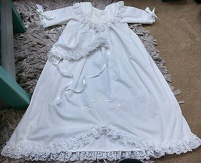 Vintage Christening Baptism Gown Dress Made In The USA Includes slip Infant
