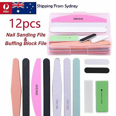 12Pcs Nail Art Sanding Gel File Buffer Buffing Block Manicure Acrylic Tool Kit