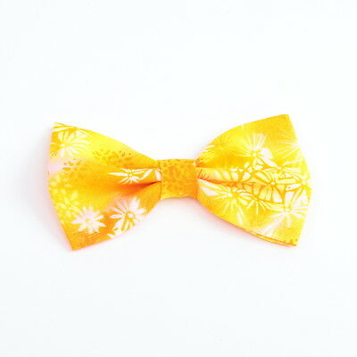 Yellow Floral -  Handmade Bow with Clip - Hair Accessories -Girls Ladies Toddler