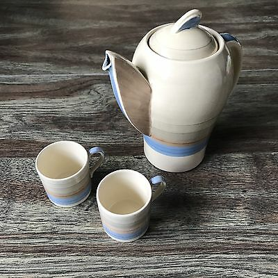 """Susie Cooper Kestrel Coffee Pot """"Wedding Band"""" Pattern with Two Demitasse Cups"""